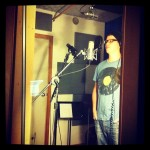 "Rob recording vocals on ""Swimming Sharks"""